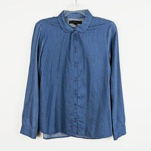 Zara Denim Peter Pan Collar Button Down Shirt
